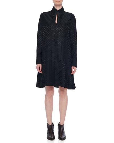 Dolman Tie-Neck Jacquard Shift Dress