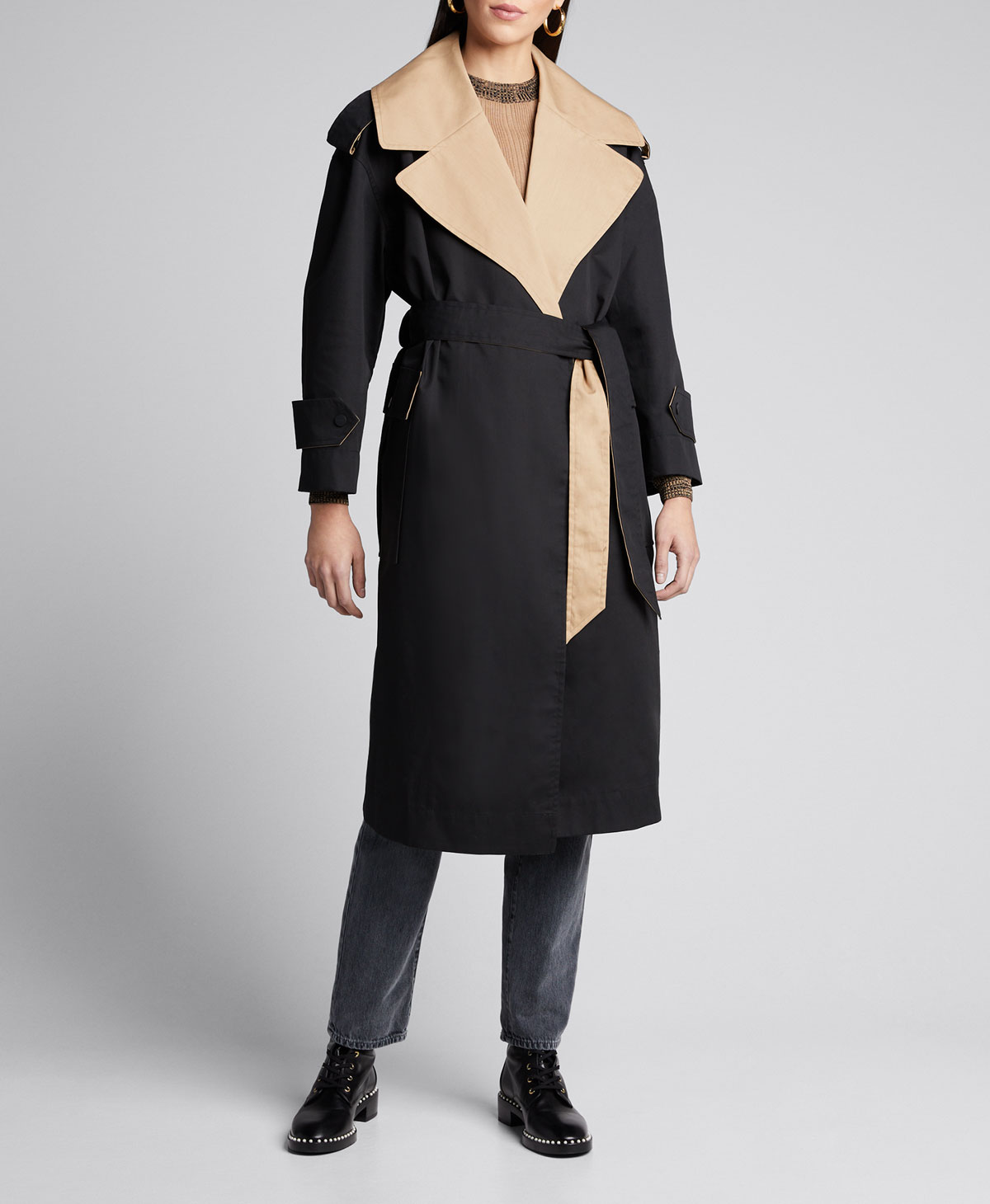 Ganni Coats TWO-TONE COTTON BELTED TRENCH COAT