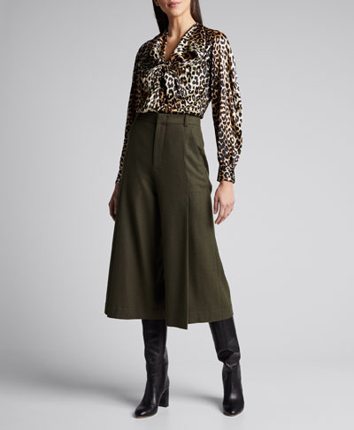 Stretch Satin Leopard-Print Bow Blouse