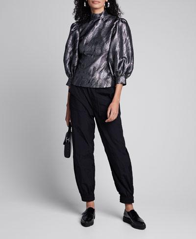 High-Neck Metallic Jacquard Puff-Sleeve Top