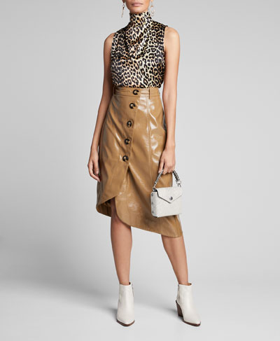 Stretch Satin Leopard-Print High-Neck Blouse