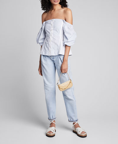 Striped Shirting Off-Shoulder Blouse