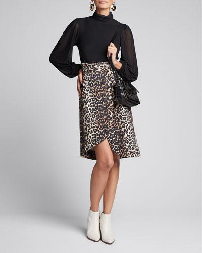 Leopard-Print Denim Paperbag Skirt
