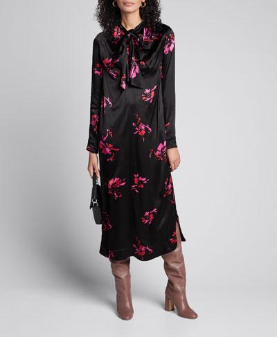 Heavy Satin Tie-Neck Midi Dress
