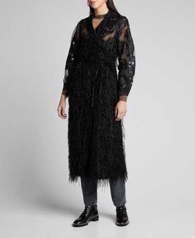 Feathery Metallic Mesh Duster Jacket