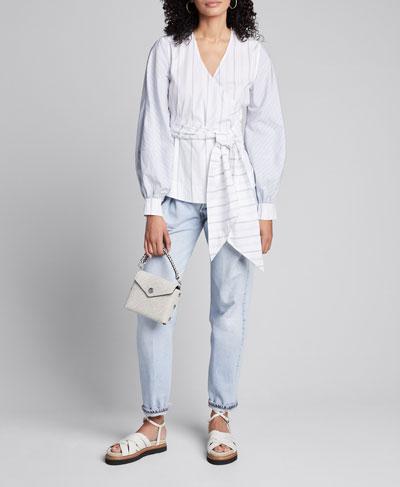 Striped Shirting Long-Sleeve Wrap Blouse