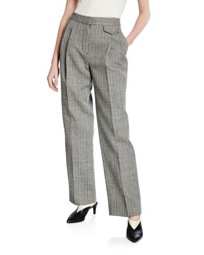 Pleated Tweed Pants