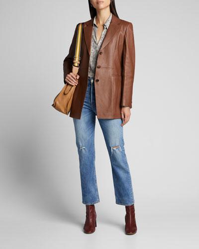 Jaqueline Lambskin Leather Blazer
