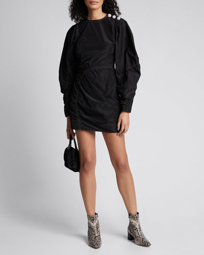 Recycled Polyester Long-Sleeve Short Dress
