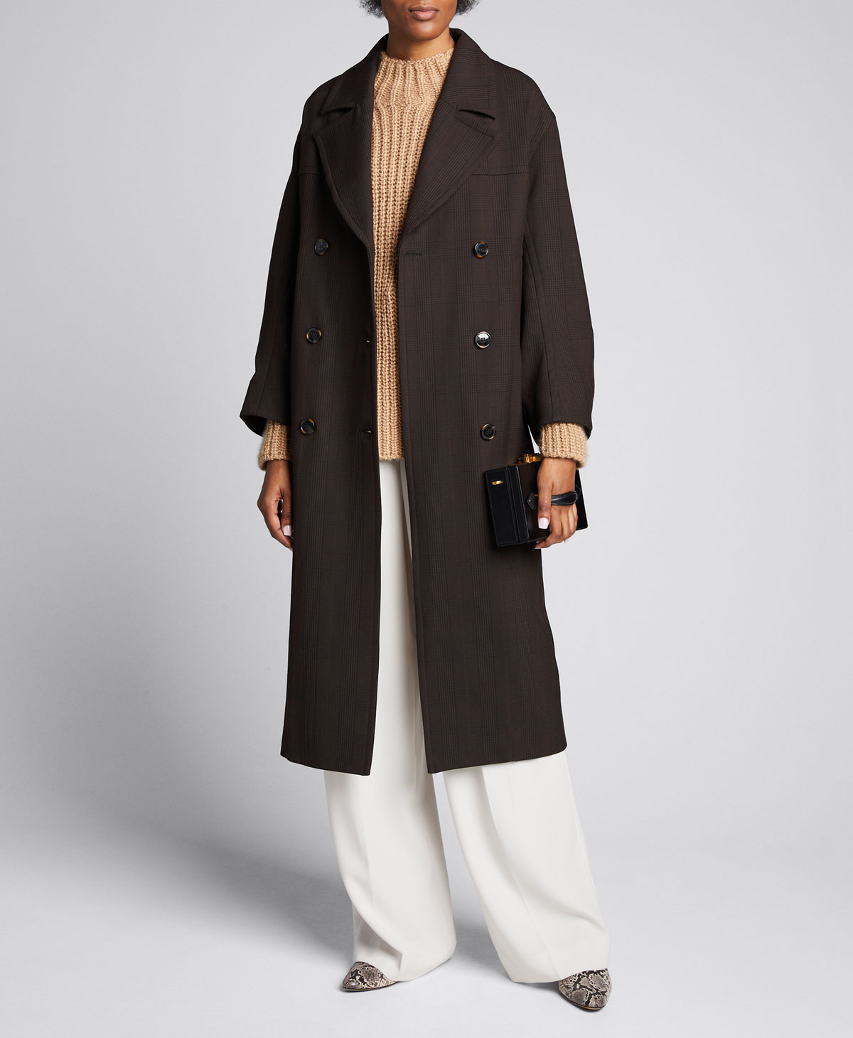Ganni Coats DOUBLE-BREASTED CHECK LONG COAT