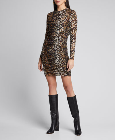 Leopard-Print Ruched Mesh Long-Sleeve Dress