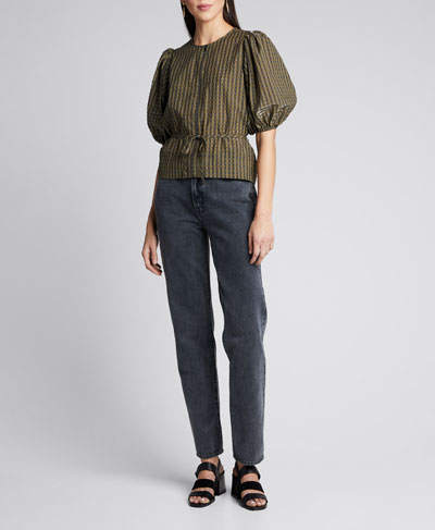 Seersucker Check Puff-Sleeve Blouse