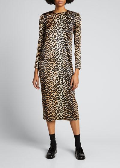 Stretch Satin Leopard-Print Wrap Dress