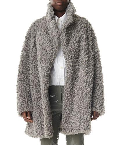 Faux Lamb Shearling Pea Coat