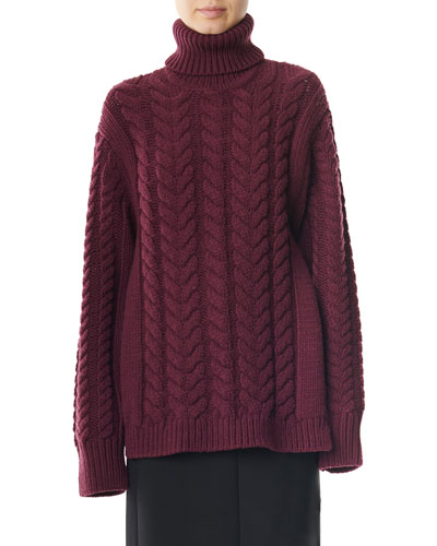 Open-Back Cable Turtleneck Sweater