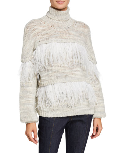 Valentina Turtleneck Sweater with Feathers