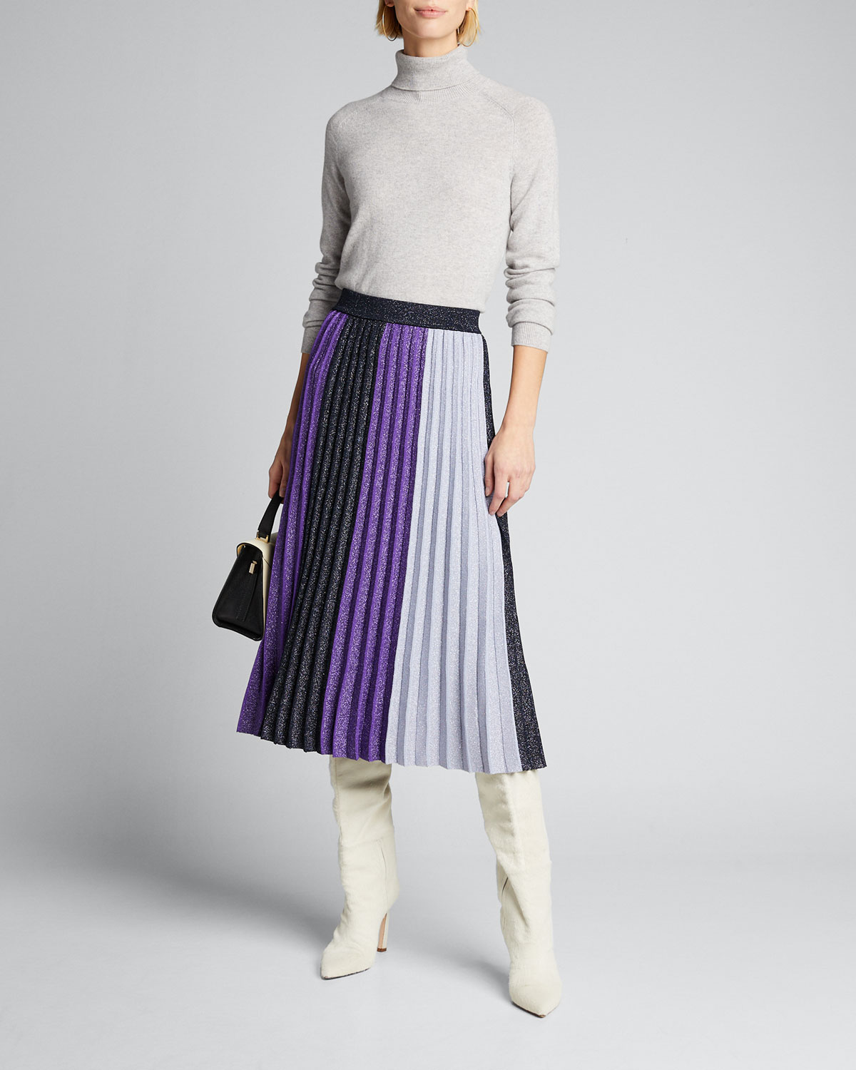 Derek Lam 10 Crosby Skirts COLORBLOCK PLEATED METALLIC MIDI SKIRT