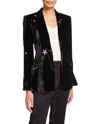 Estelle Velvet Star-Embroidered Blazer
