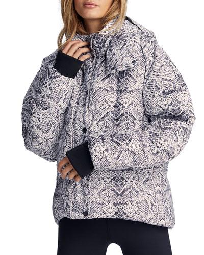Highland Snake-Print Hooded Puffer Jacket