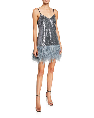 Athena Sequined Cocktail Dress w/ Feathers