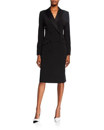 Double-Breasted Tuxedo Coat Dress