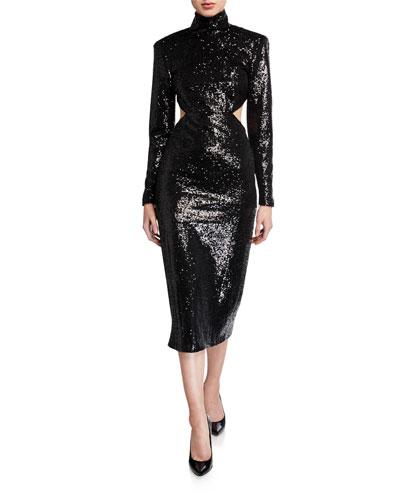 Daniela Cutout Sequined High-Neck Dress
