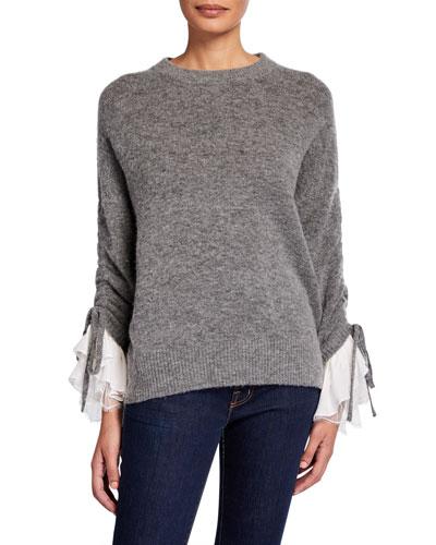 Atlas Lace-Cuff Wool Sweater