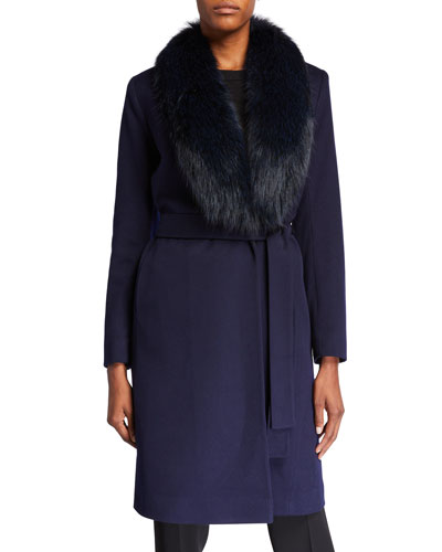 Fox Fur Shawl-Collar Wool Wrap Coat