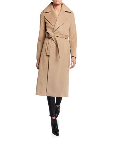 Notch-Collar Wool Wrap Coat