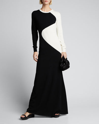 Two-Tone Crewneck Wool Maxi Dress