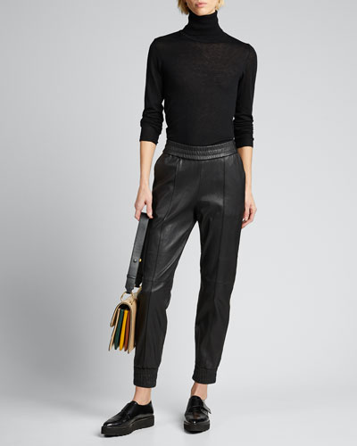 Athletic Leather Side-Stripe Joggers