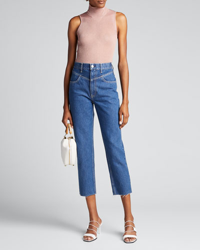 Heidi Cropped Straight-Leg Jeans w/ Yoke