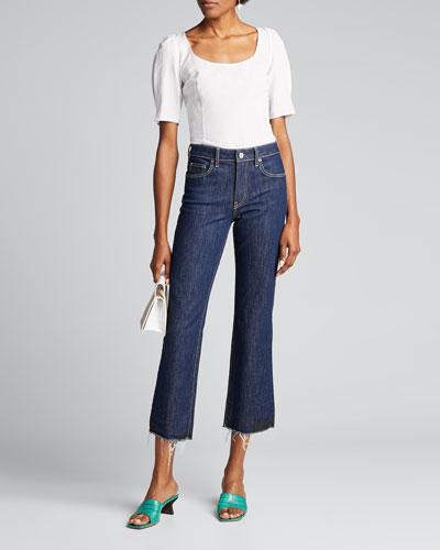 Colette Dark-Wash Flare Cropped Jeans
