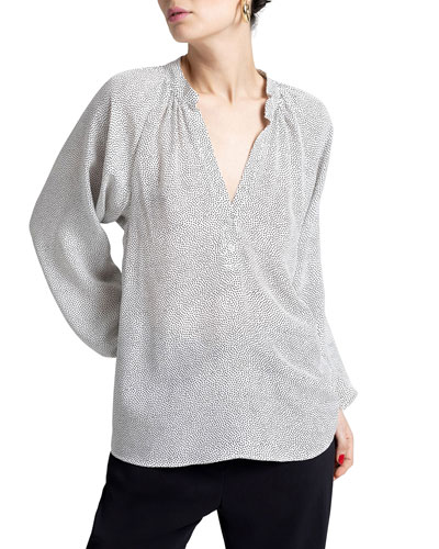 Jules Dotted V-Neck Long-Sleeve Silk Top