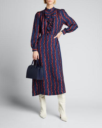 Oasis Printed Ruffle Button-Front Midi Dress