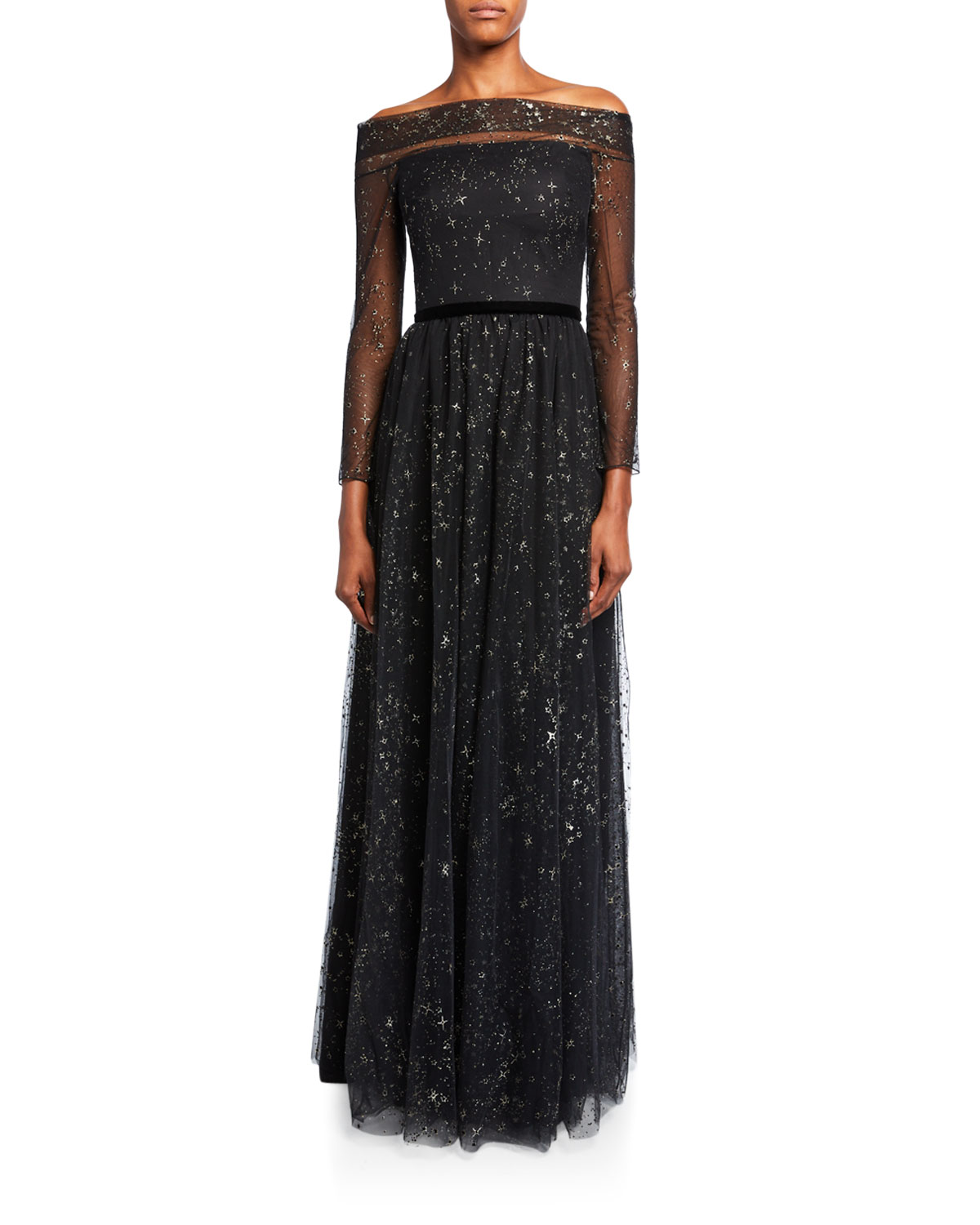Marchesa Notte Tops GLITTER TULLE OFF-THE-SHOULDER GOWN WITH RIBBON WAIST TRIM