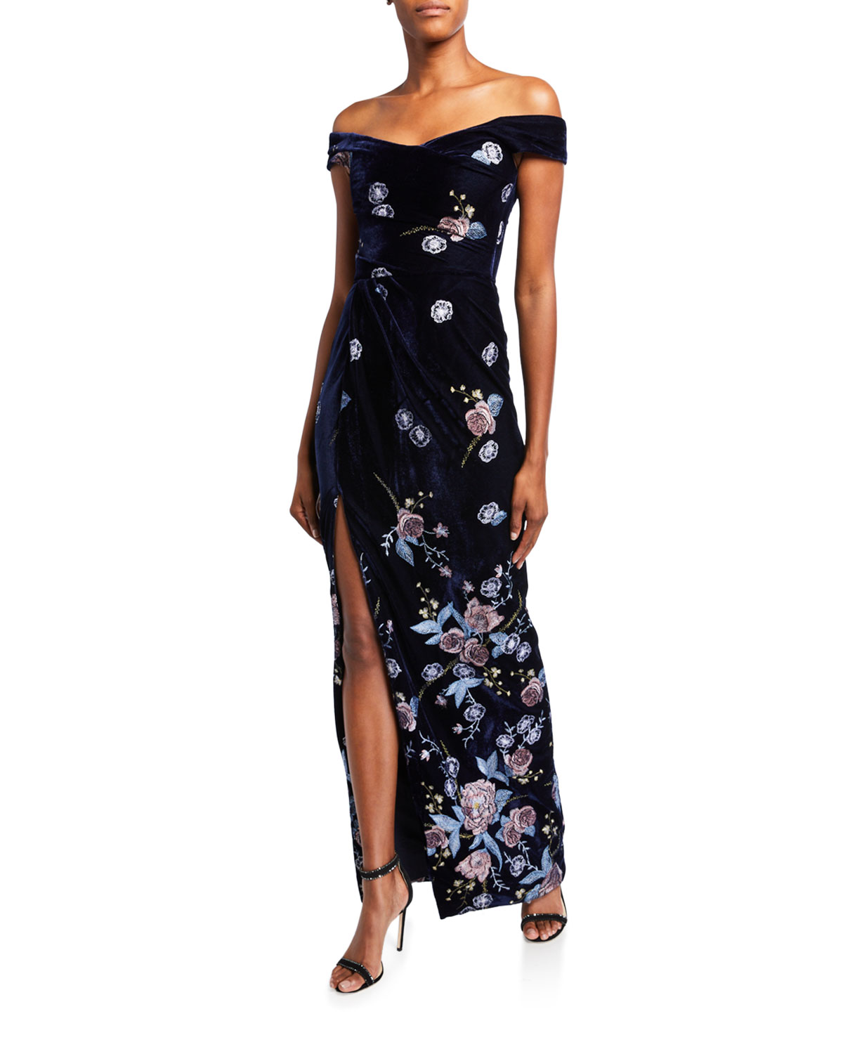 Marchesa Notte Tops OFF-THE-SHOULDER FLORAL EMBROIDERED VELVET GOWN WITH SLIT
