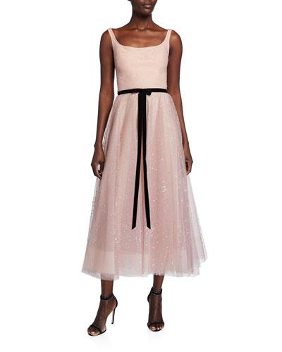 Sleeveless Glitter Tulle Tea Length Dress