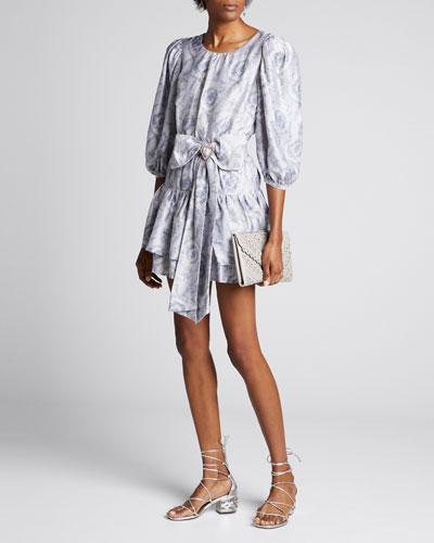 Pearla Belted Blouson-Sleeve Tiered Dress