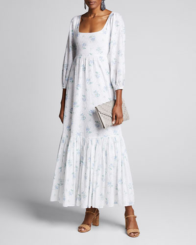 Colby Textured Dot Floral Maxi Dress