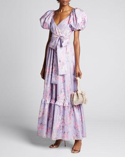 Ida Floral Puff-Sleeve Long Dress