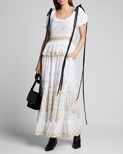 Kennedy Embroidered Shoulder-Tie Maxi Dress
