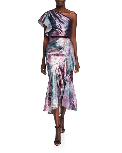 Metallic Jacquard One-Shoulder Tea Length Dress w/ Ruffle Detailing