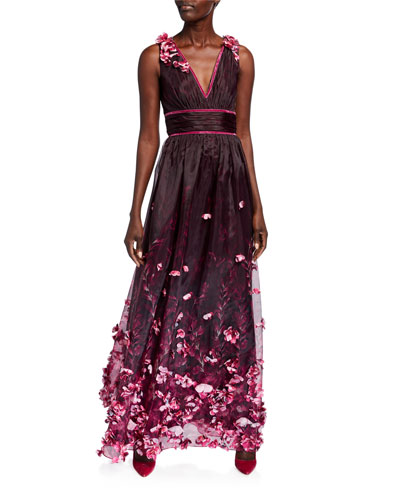 Printed Organza V-Neck Sleeveless Gown w/ 3D Flower Degrade
