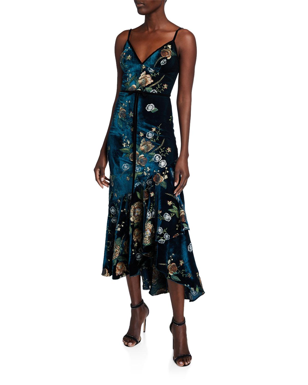 Marchesa Notte Dresses EMBROIDERED HIGH-LOW SLEEVELESS VELVET COCKTAIL DRESS W/ CASCADING HEM