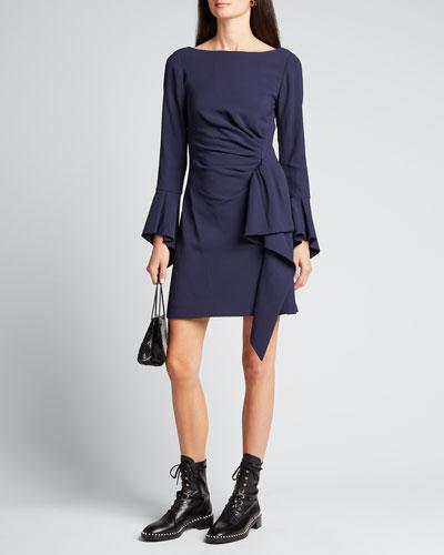 Crepe Ruffle Long-Sleeve Mini Dress