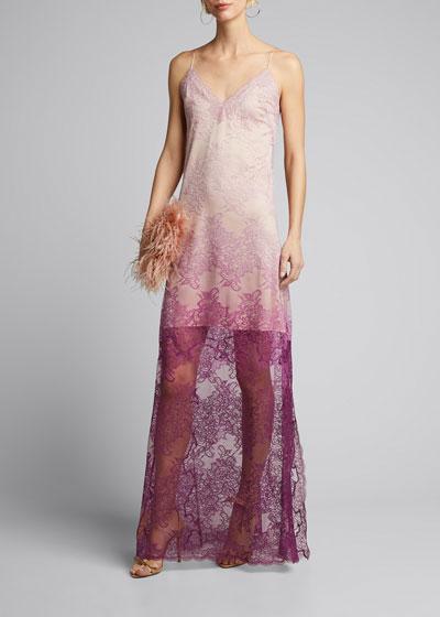 Ombre Lace Slit Gown