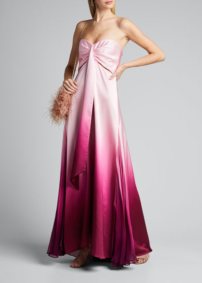 Ombre Satin Sleeveless Gown