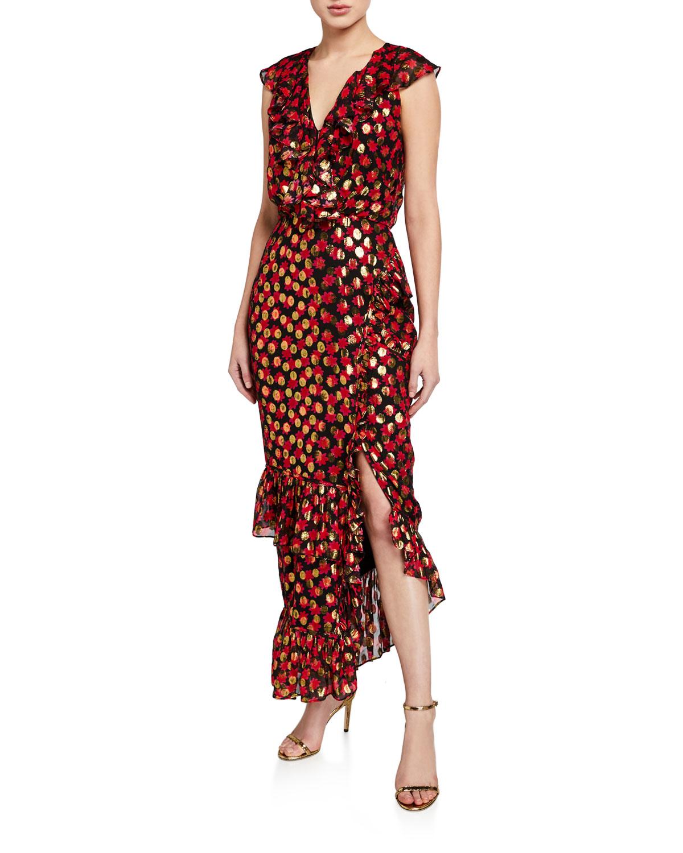 Saloni Dresses ANITA PRINTED METALLIC RUFFLE COCKTAIL DRESS