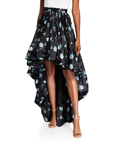Fire Tea Cups Floral Tiz High-Low Full Pleated Skirt
